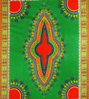 Bulk African Fabric 6 Yards Green Red Yellow Dashiki Print