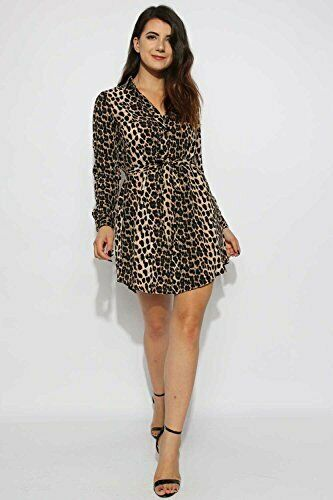 Womens Leopard Print Tie Front Shirt Dress UK Size 6-14