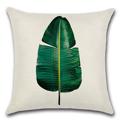 Tropical Plant Leaf Pillow Case Cotton Linen Sofa Cushion Cover Home Decoration