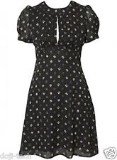 BNWT Topshop 40s Vtg Retro Deco Abstract Floral Print Crepe Tea Dress 10 38 US6