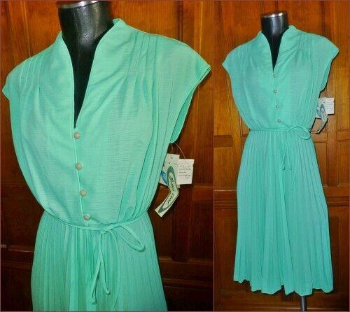 NwT VTG 70s Semi Sheer Pleat Full Skirt Boho Cocktail Secretary Belted DRESS
