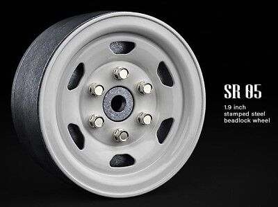 1//10 SCALE TRUCK RIMS 1.9 STEEL STAMPED Beadlock Wheels WHITE 120MM ROCK TIRES