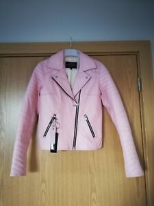 Size Trim Island Jacket Black Uk Rare Pink 6 32 Biker Quilted River Leather Real zxpx4v
