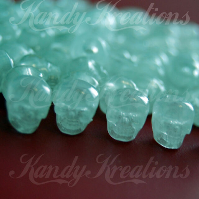 50 White Glow in the dark Skull pony beads for kandi paracord craft survival Kid