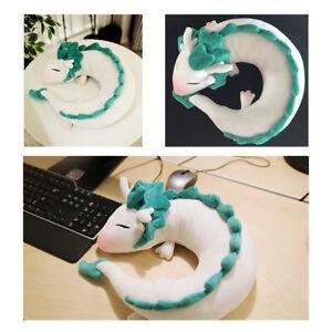 Anime-Spirited-Away-White-Dragon-liefert-Animal-U-Shape-Cuello-Almohada-Peluche-Muneco-de-Juguete