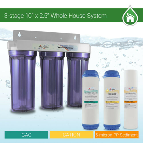 """3 Stage 10/"""" Whole house water Softening Filter softener reduce remove hardness"""