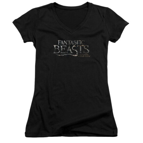 Fantastic Beasts /& Where to Find Them MOVIE LOGO Juniors V-Neck Tee Shirt
