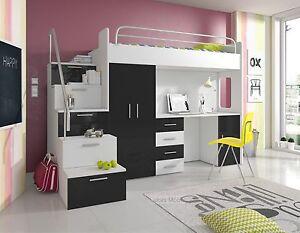 Bett Schrank etagenbett hochbett hochglanz weiss schwarz bett schrank
