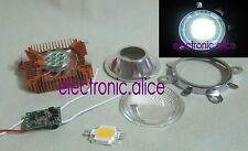 10W Cool White High Power LED + 10Watt Driver + 50mm Lens+10w Heatsink 1set