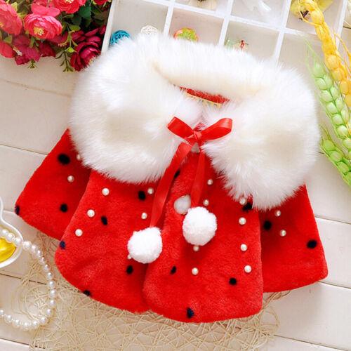 Children Girls Baby Fluffy Long Sleeve Cardigan Winter Polka Dots Outwear Coat