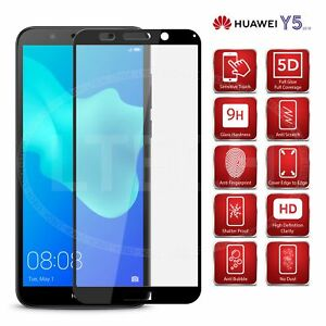 Details about Full Glue & Coverage 5D Glass Screen Protector for Huawei Y5  (2018) DRA-L21