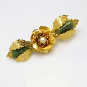 Vintage-Brooch-Pin-Figural-Rose-Jade-Stones-Cultured-Pearl-Nice-Detail