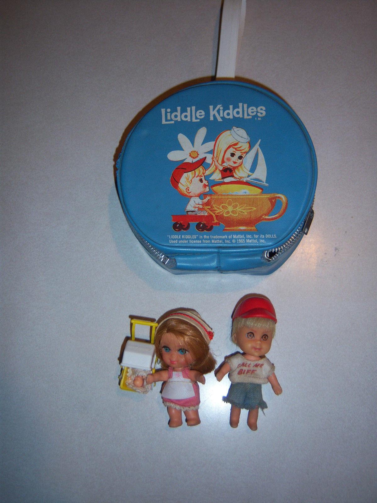 VTG CUTE HTF MATTEL LIDDLE KIDDLE Blau ROUND  PURSE CASE & 2 DOLL LOT