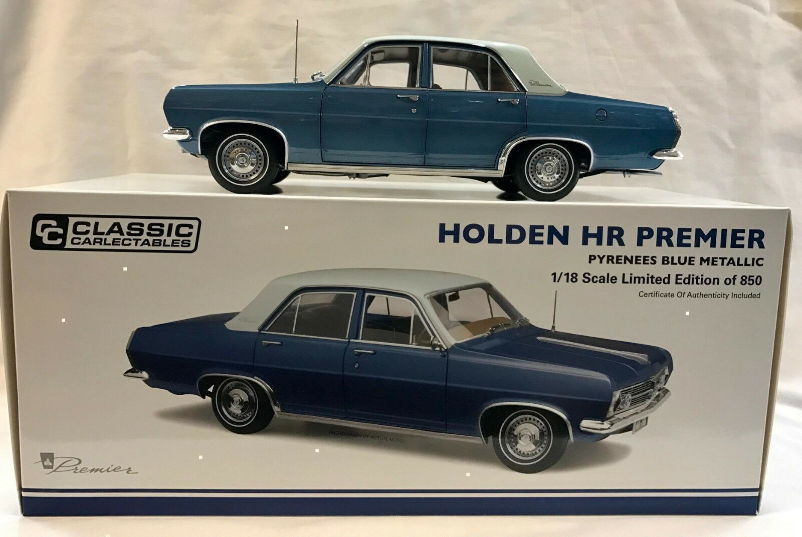 37514 HR PREMIER HOLDEN PYRENEES blueE METALLIC 1 18 DIE CAST MODEL CAR