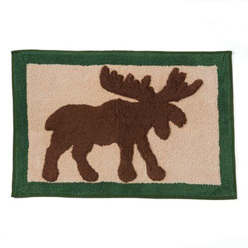 "NICHOLAS SQUARE Winter Woods Moose Bath Rug 20x30/"" Multi-Color Decor NWT ST"