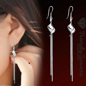 Luxury-Women-039-s-925-Sterling-Silver-Long-Dangle-Earrings-Tassel-Drop-Earrings