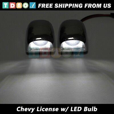 2pcs Bumper License Light Lens w/ White 8 SMD LED Bulb f 99-05 GMC Chevy Truck