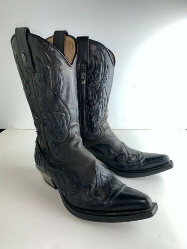 New Rock Mens Cowboy Western Boots Black Size 41