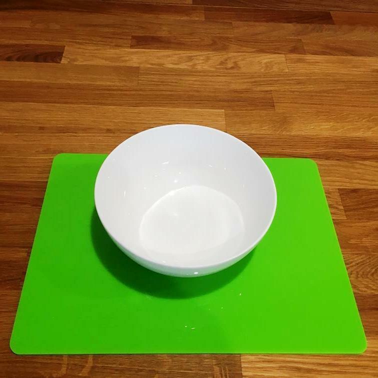 Rectangle Shaped Lime Green Gloss Acrylic Placemats Size 11.5x8.5  or 16x12