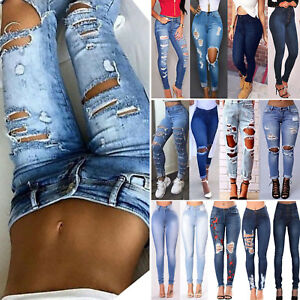 Details about New Womens Ladies Celeb Stretch Ripped Skinny High Waist Denim Pants Jeans 2 18