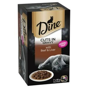 Dine Cuts In Gravy With Beef And Liver Wet Cat Food 85g Tray 7pk