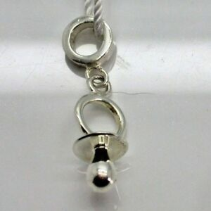 Baby Pacifier Binkie Newborn Child Sterling Silver Bracelet Charm