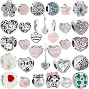 Love-Heart-Charms-Bead-Fit-European-Silver-925-Sterling-Bracelets-Necklace-Chain