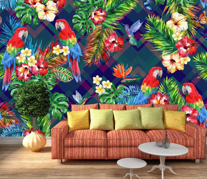 3D Zweige Von Papageien5 Tapete Tapeten Mauer Foto Familie Tapete Wandgemälde DE