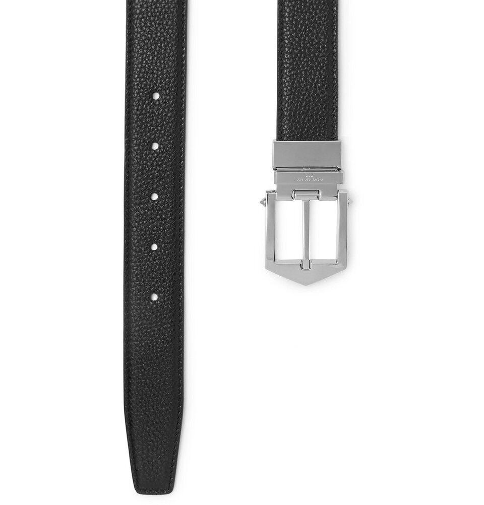 Givenchy Herren Obsedia Schwarz & Hellbraun Wendbar Pebble-Grain Ledergürtel