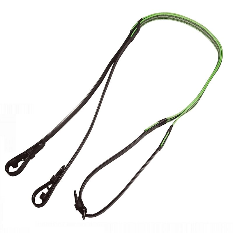 Audenham Brown English Bridle Leather and Neon Green Reflective Gripper Reins