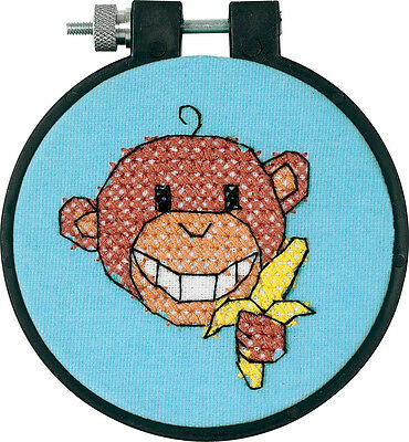 Dimensions Stamped Cross Stitch Kit 4 Kids - Monkey