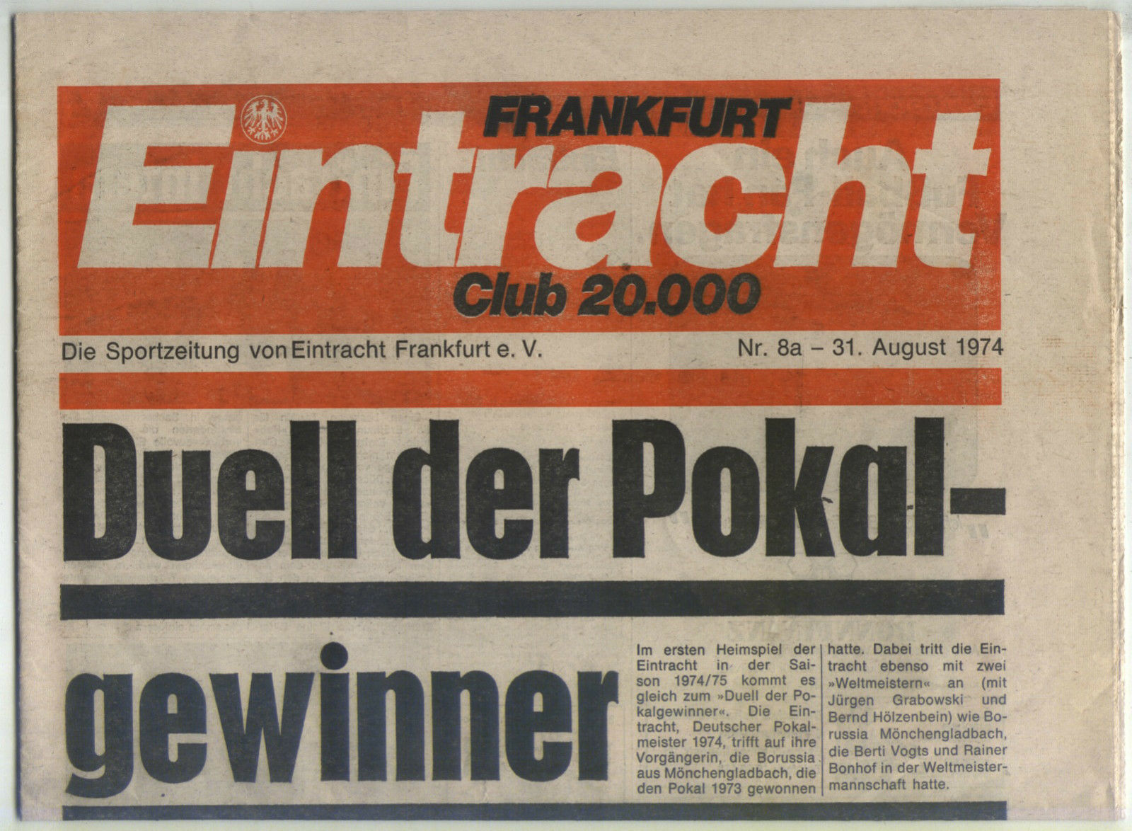 BL 74 75 Eintracht Francoforte - Borussia Mönchengladbach (31.08.1974)