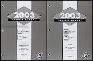 2003 chevy cavalier and pontiac sunfire repair shop manual set rh ebay com 2003 Sunfire Oil Filter 2003 Sunfire Oil Filter