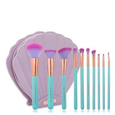 Spectrum - GLAM CLAM - Mermaid Dream Makeup Brushes Set - 10 Pieces - Aqua Gold