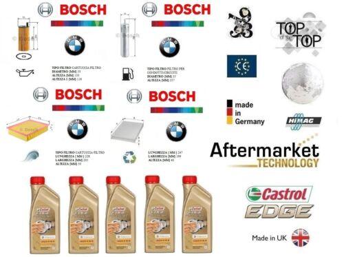 Kit Filtri Tagliando BOSCH BMW 3 F30 316d 85 Kw + 5 Litri Olio Castrol 5W30