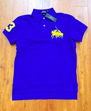 RALPH LAUREN Mens Custom Fit Cotton Dual Match Pony Polo Blue M  NWT
