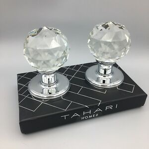 Image Is Loading Tahari Crystal Door Knob Round Faceted Set Silver