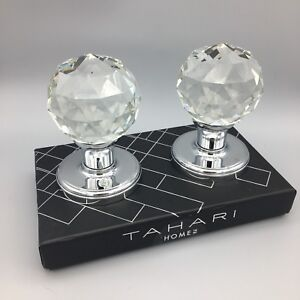 Details About Tahari Crystal Door Knob Round Faceted Set Silver Chrome  Luxury Designer NEW