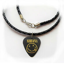 "NIRVANA  guitar pick plectrum braided twist LEATHER NECKLACE 20"" PLAIN BLACK"