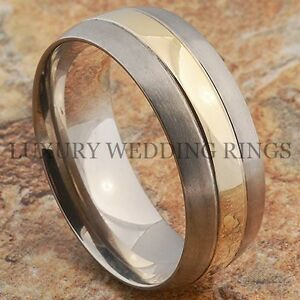 Titanium Wedding Band 14K Gold Men/'s Ring Bridal Jewelry Brushed Size 6-13