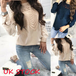 Women-039-s-Long-Sleeve-Lace-Pullover-Tops-Ladies-Casual-Loose-T-Shirts-Blouse-6-18