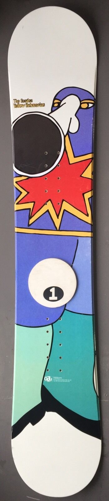 GNU SNOWBOARD THE BEATLES YELLOW SUBMARINE 150 cm  HAND BUILT RARE HORN NOSE MNT