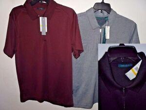 NEW-Perry-Ellis-1-4-Zipper-Short-Sleeve-Polo-Shirt