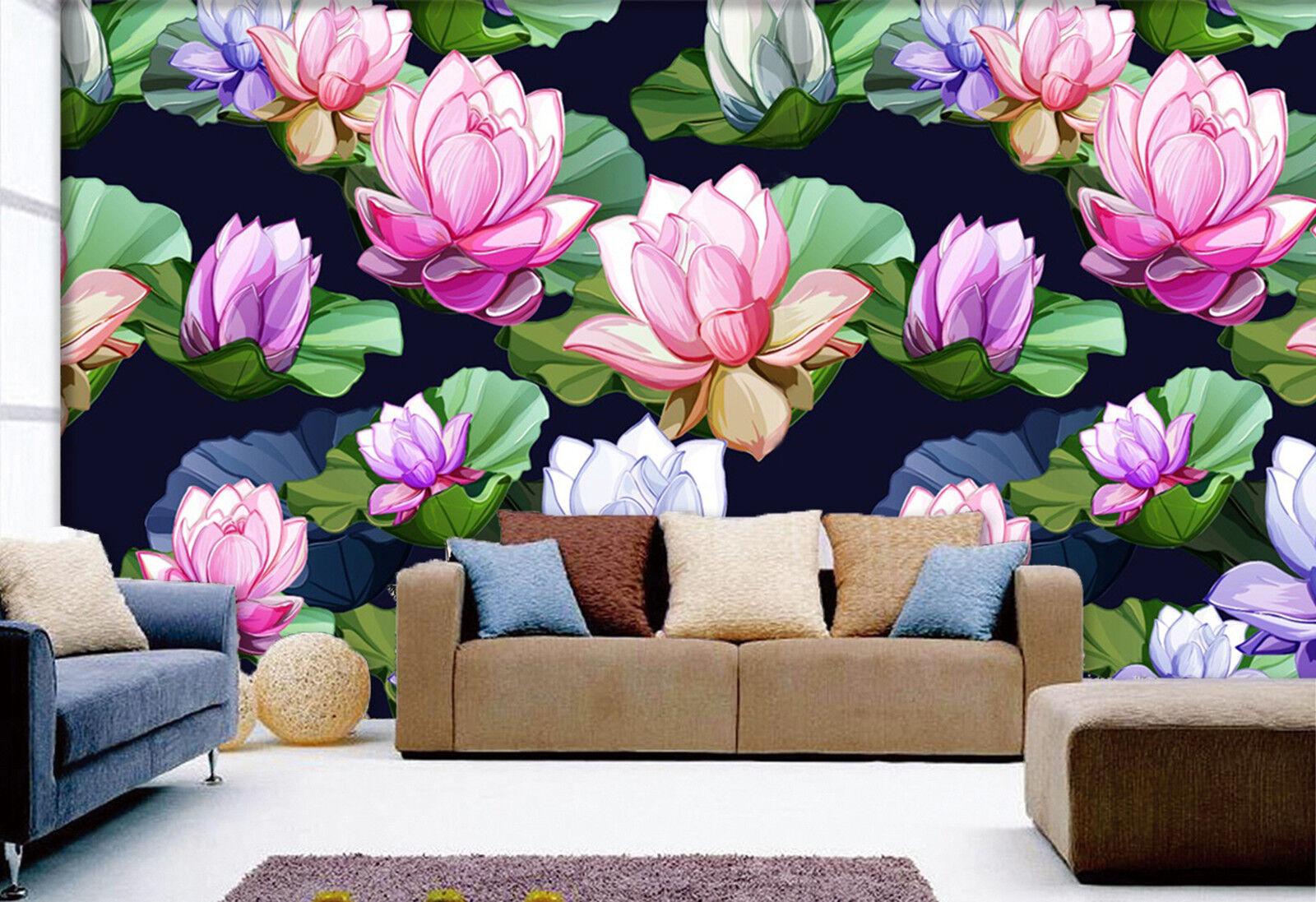 3D Lotus-Teich Fototapeten Wandbild Fototapete Bild Tapete Familie Kinder