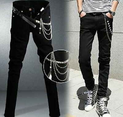 2017 Men's Black Slim Fit Punk Denim Jeans Trousers Skinny Zipper Jean Pants