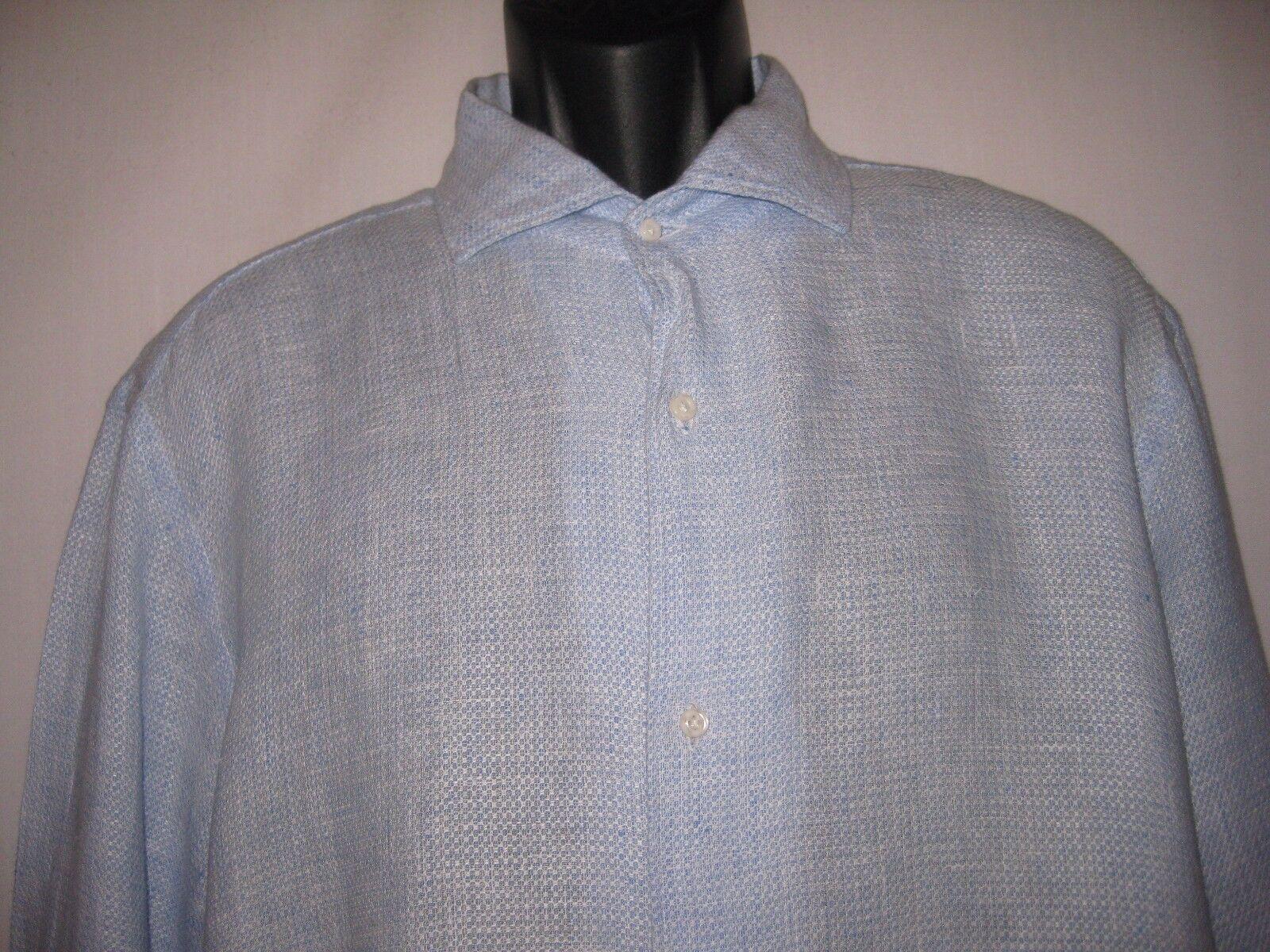 Gutteridge dal 1878 Dress Shirt 100% Linen Größe 45 18  Lt Blau Stylish  165