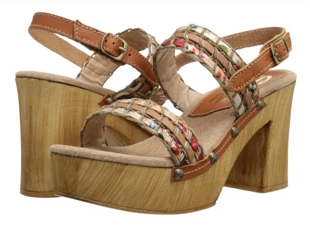 NEU Sbicca Gwendoline Tan/Multi Platform Wedge Sandale Flare Heel Damenschuhe 9 M