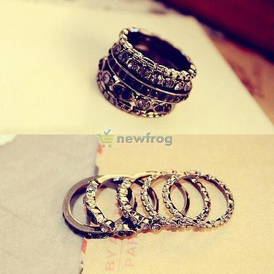 5Pcs Vogue Fashion Crystal Rhinestone Simple Nail Band Finger Rings Set Jewelry