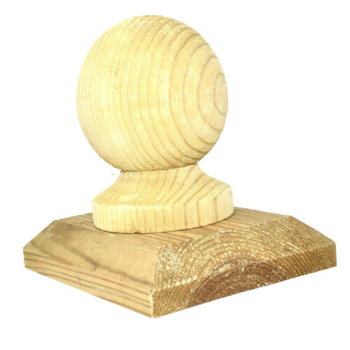 """Finial /& 4/"""" x 3/"""" VERDE trattate in legno recinto TAPPO POST 75mm 3/"""" in legno di pino Palla"""