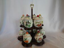 Lenox China Orchard Giftware - Set of 12 Fruit Porcelain Jam/Jelly Jars w/Stand